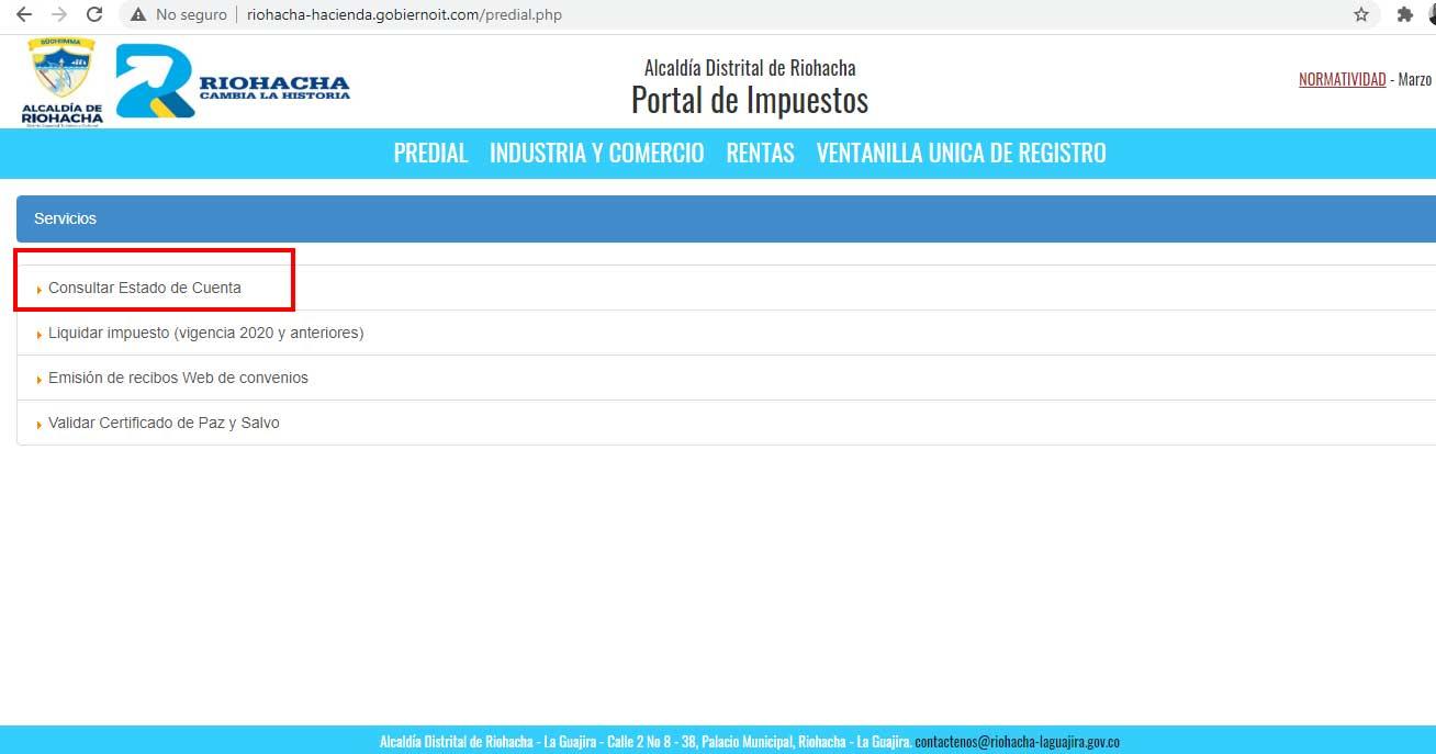 Consultar Estado de Cuenta Predial Riohacha