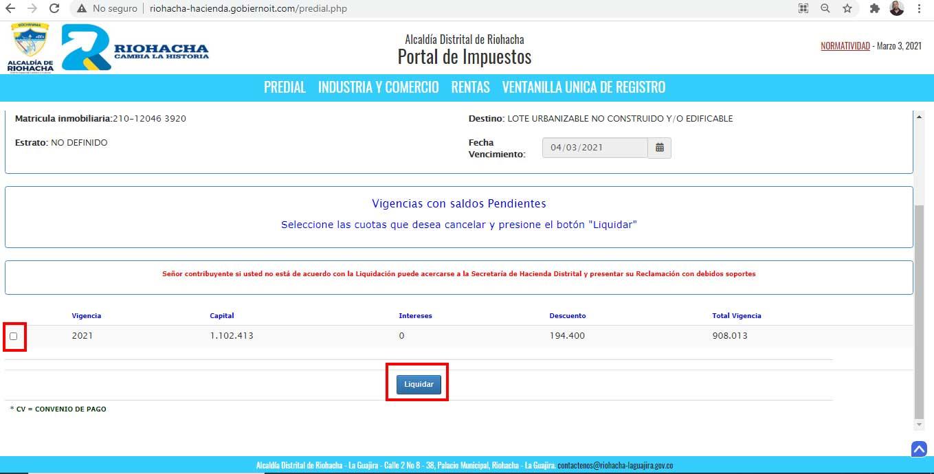 Liquidacion Factura Impuesto Predial Riohacha