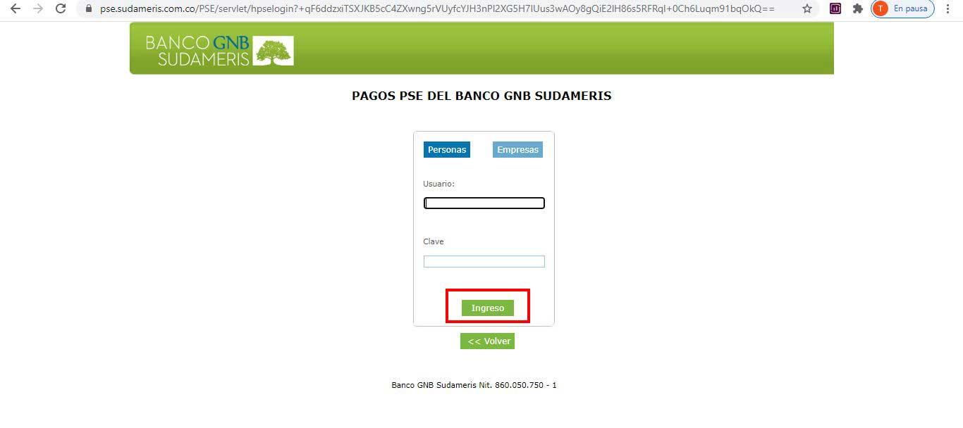 Pago Por PSE Banco GNB Sudameris