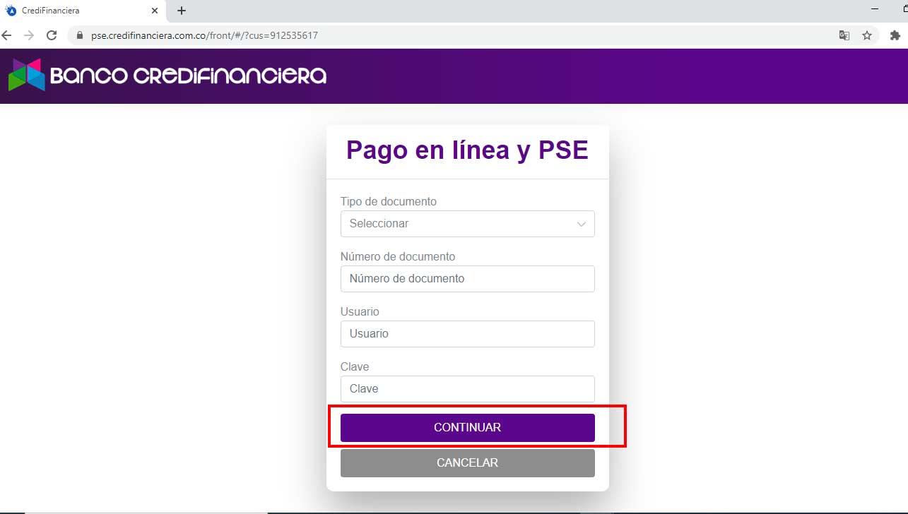 Pago por PSE Banco Credifinanciera