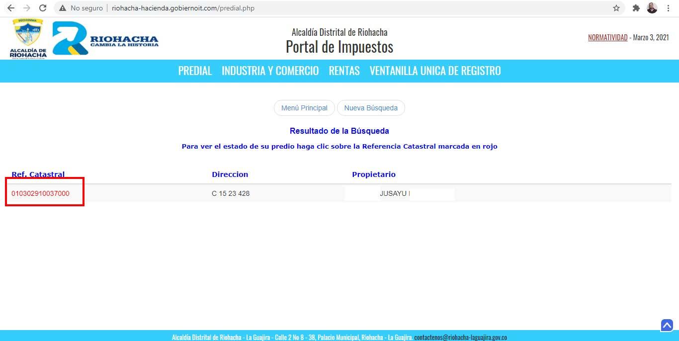 Referencia Catastral Estado de Cuenta Riohacha