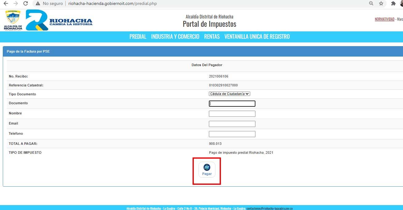 Registro de Datos Pagador Predial Riohacha