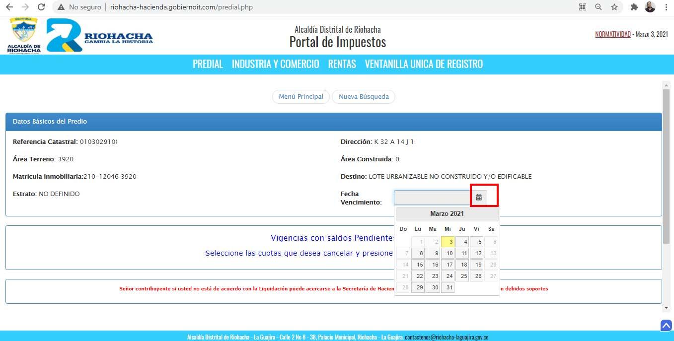 Seleccion de Fecha de Pago Impuesto Predial Riohacha