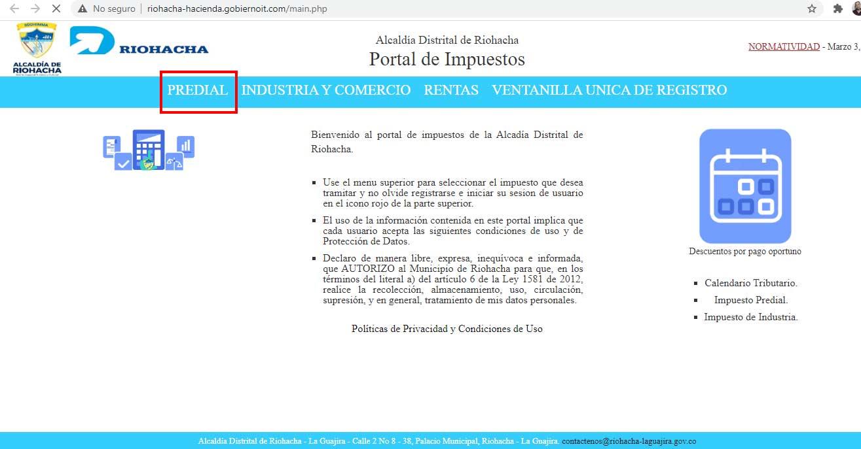 Seleccion de Predial Riohacha Portal de Impuesto Alcaldia