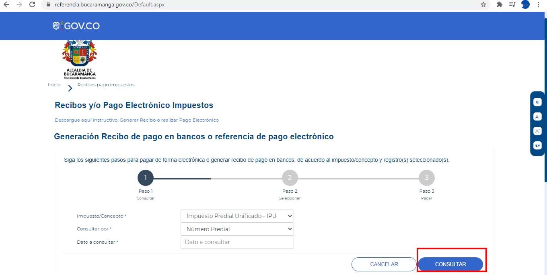 Consulta Recibo Predial Bucaramanga