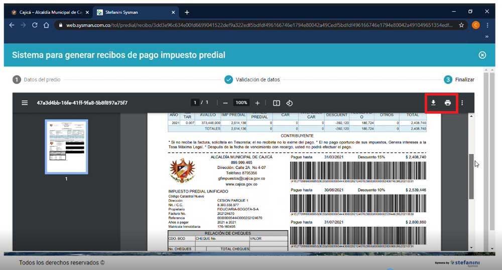 Factura Impuesto Predial Cajica