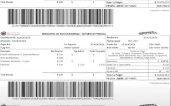 Factura Predial Bucaramanga