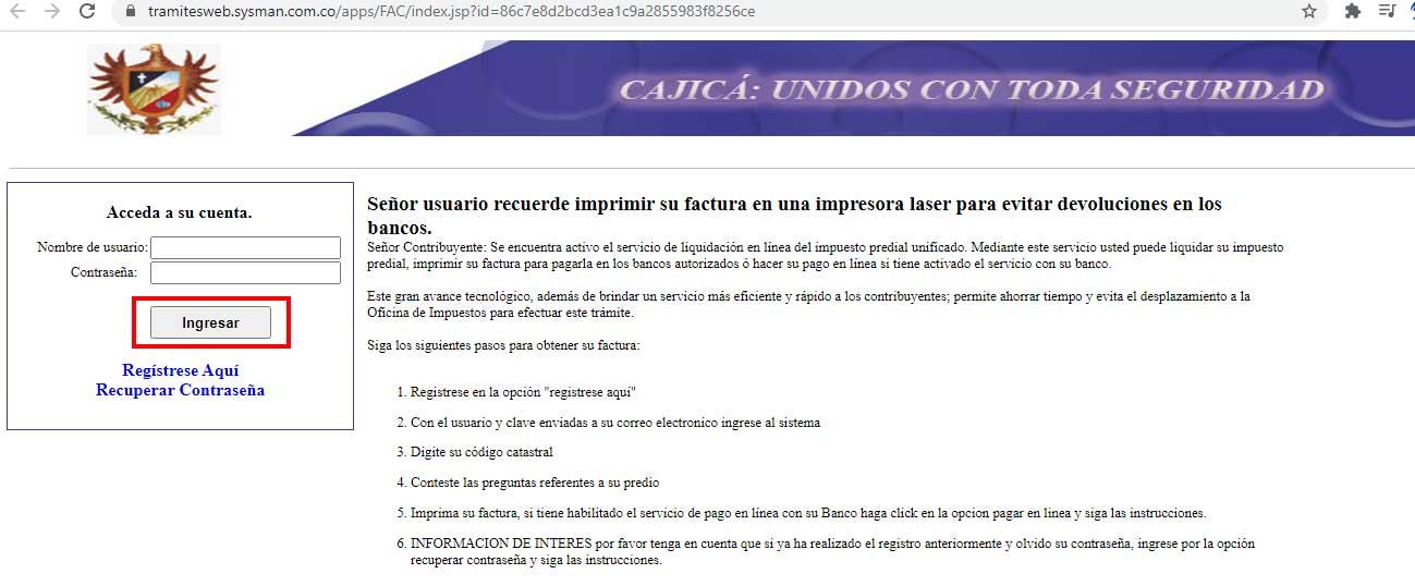Ingreso Portal Tramite Cajica