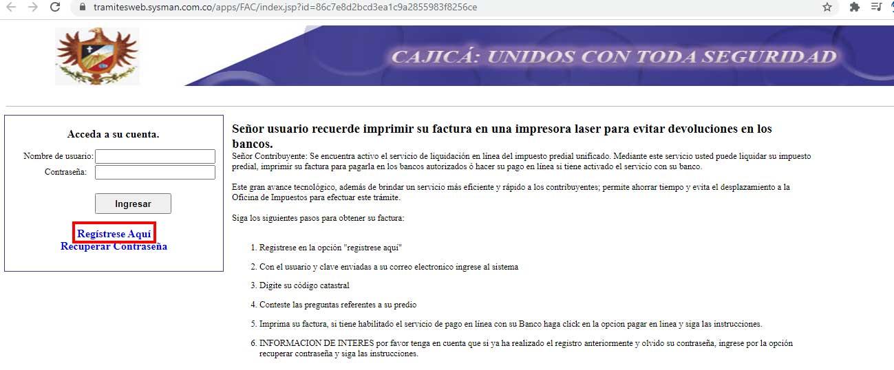 Registrese Aqui Cajica