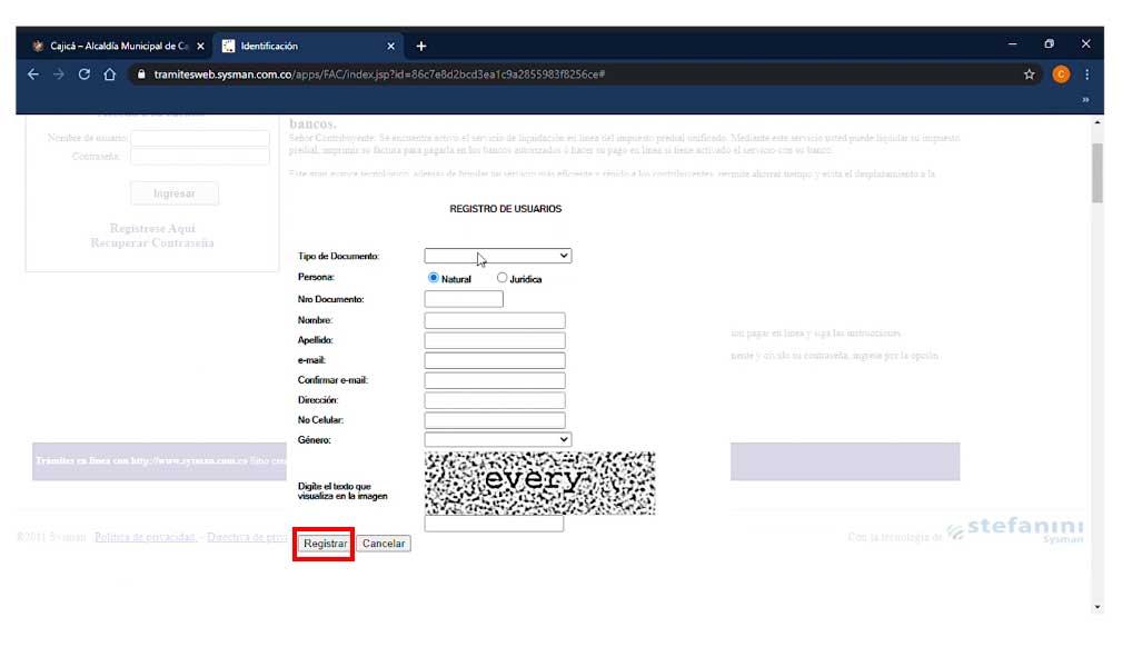 Registro Cuenta Cajica
