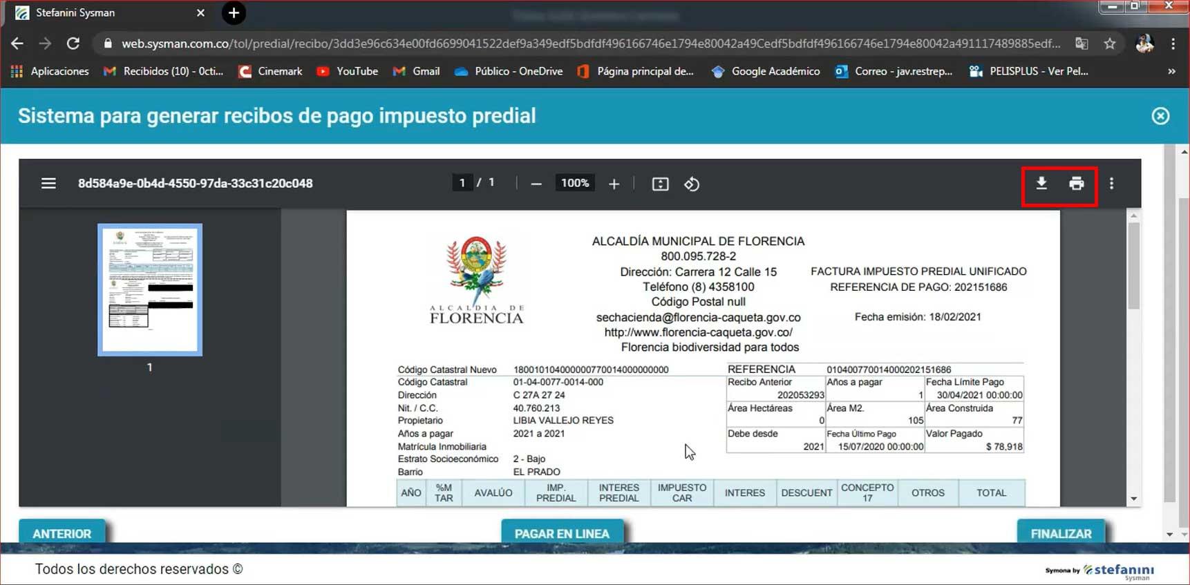 Descarga Factura Predial Florencia