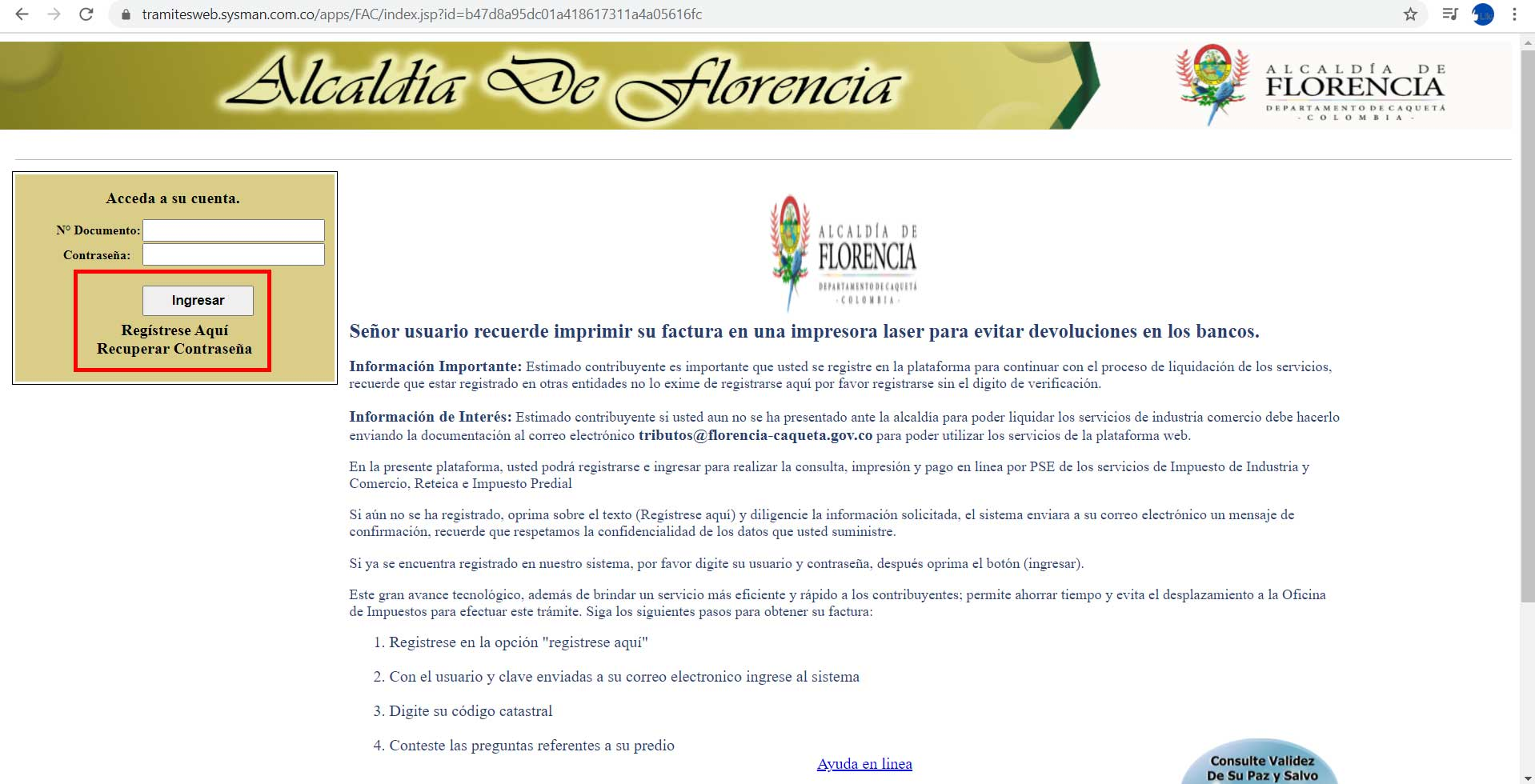Ingreso o Registro Portal Tributario Alcaldia Florencia