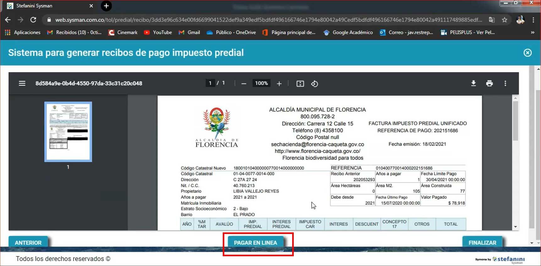 Pago En linea Impuesto Predial Florencia