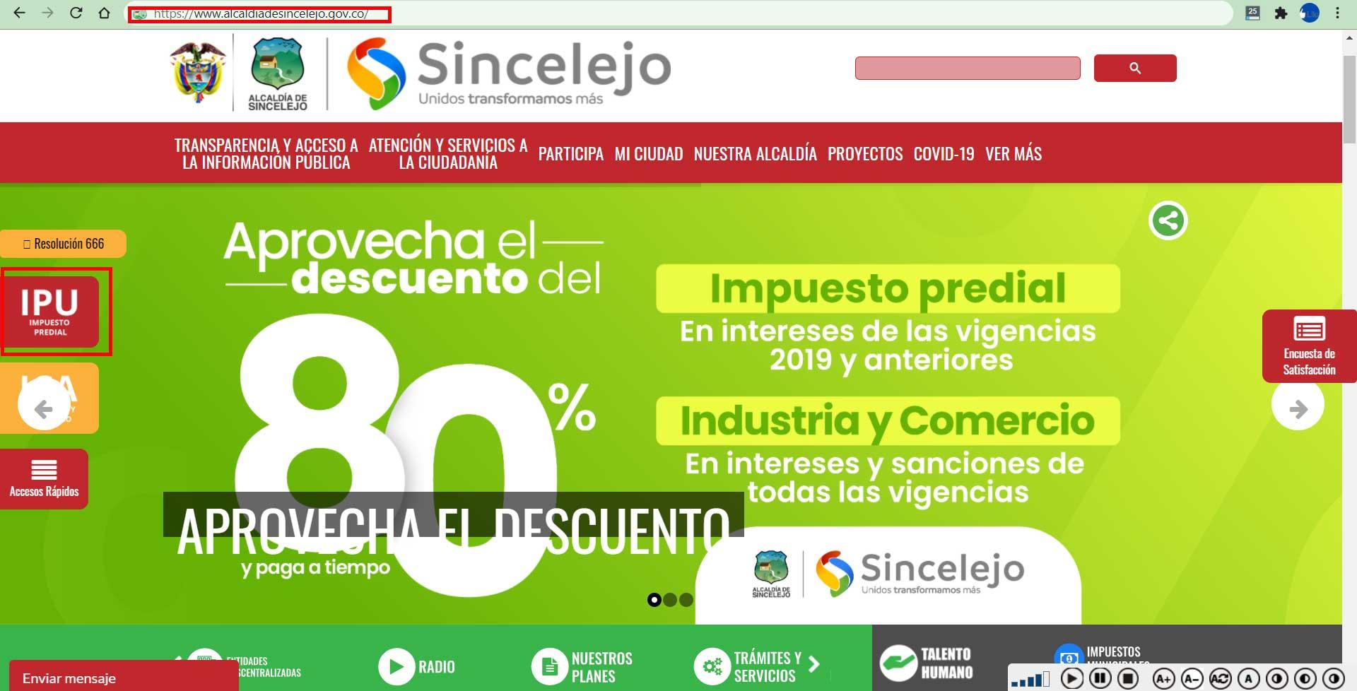 Acceso portal Alcaldia Sincelejo Impuesto Predial