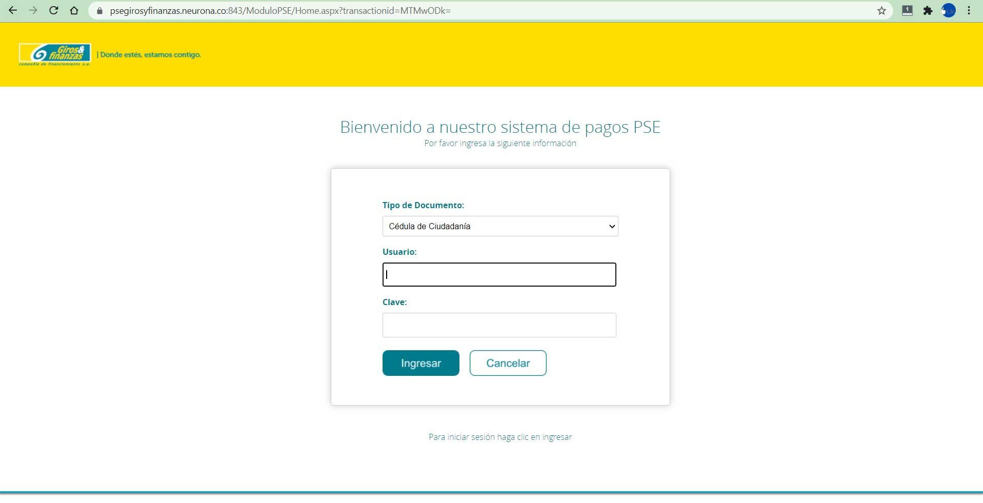 Pago Por PSE Banco Giros y Finanzas